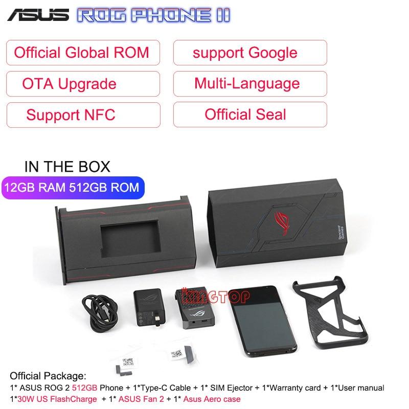 "Global ROM ASUS ROG Phone 2 Mobile Phone 6.59"" 12GB 512GB Snapdragon 855 Plus 48MP ROG Phone II ZS660KL 6000mAh NFC Game Phone"