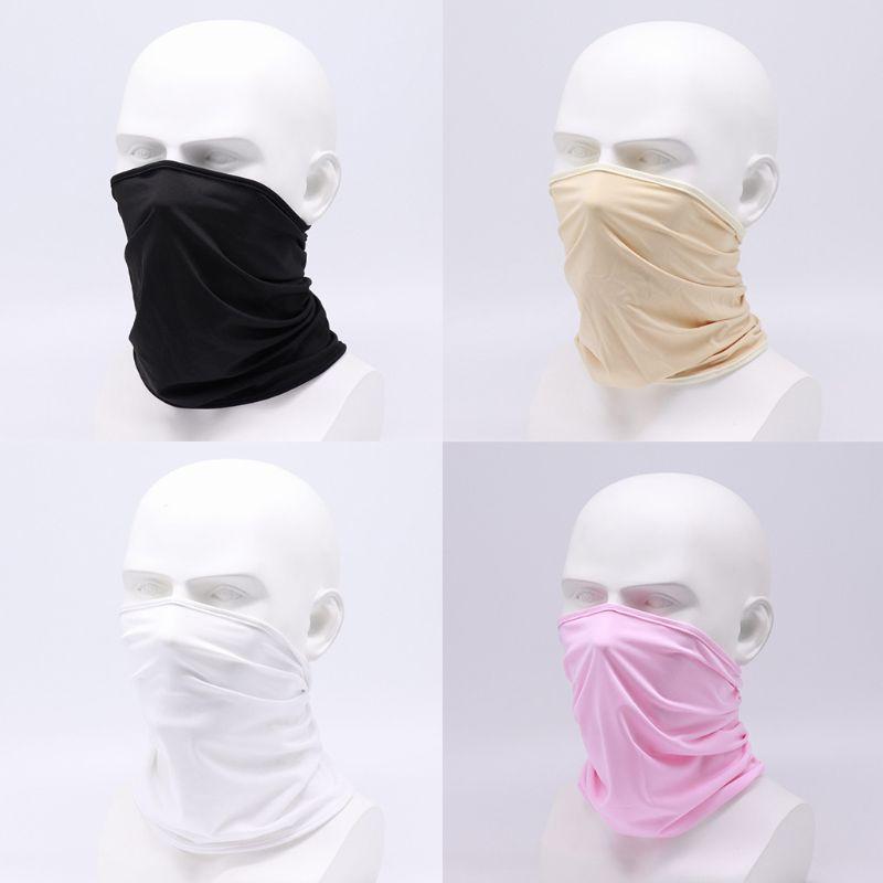Unisex Ice Silk Sunscreen Balaclava Headwear Seamless Bandana Neck Gaiter Tube Motorcycle Dustproof Face Cover Scarf