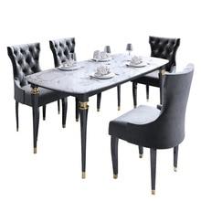 Светильник класса люкс стиль Пост Модерн Американский мрамор из цельного дерева обеденный стол и стул комбинации Размер прямоугольного квартира стол