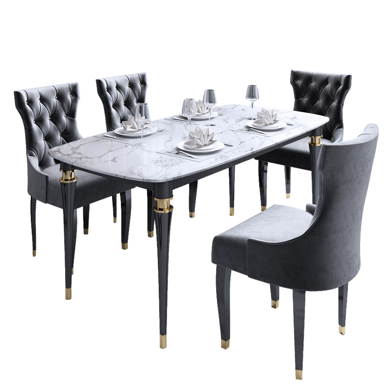 Light Luxury Post Modern American Marble Solid Wood Dining Table And Chair Combination Rectangular Size Apartment Table Dining Room Sets Aliexpress