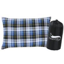 Deserto & raposa acampamento travesseiro de algodão viagem dobrável travesseiro, portátil leve saco de dormir travesseiros com caso para acampar, caminhadas