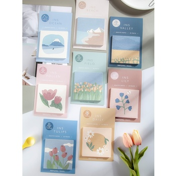 VALIOSOPA 8pcs/Lot INS Illustration Memo Pad Daisy Tulips Lily Field Flower Sticky Note Adhesive Notepad School Supplies A6084