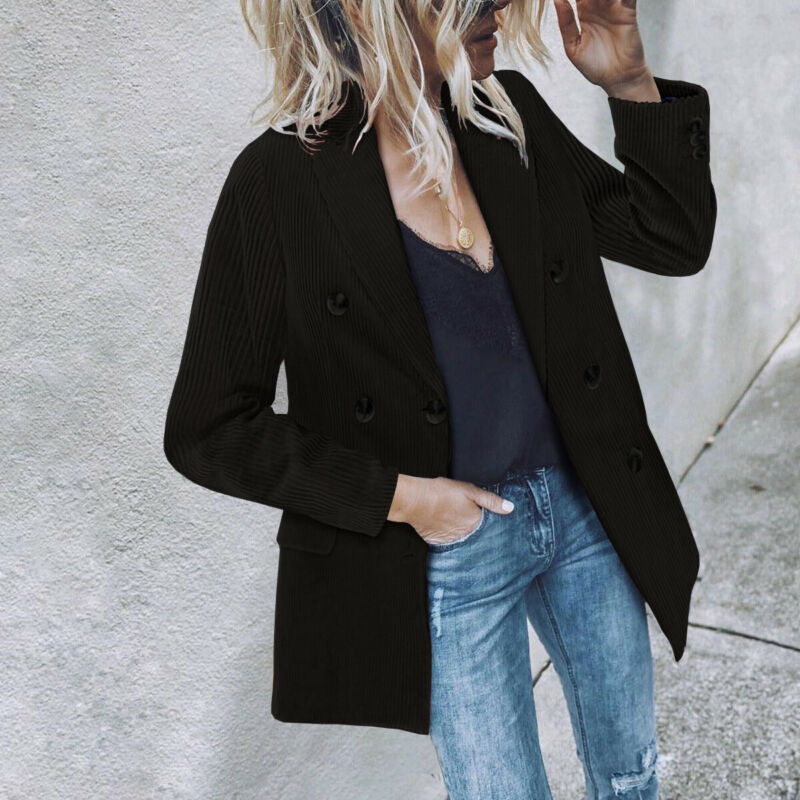 Women Ladies Double Breasted Casual Blazer Coat Solid Corduroy Loose Slim Fit Fashion Casual Jacket Coat 2019 Autumn New
