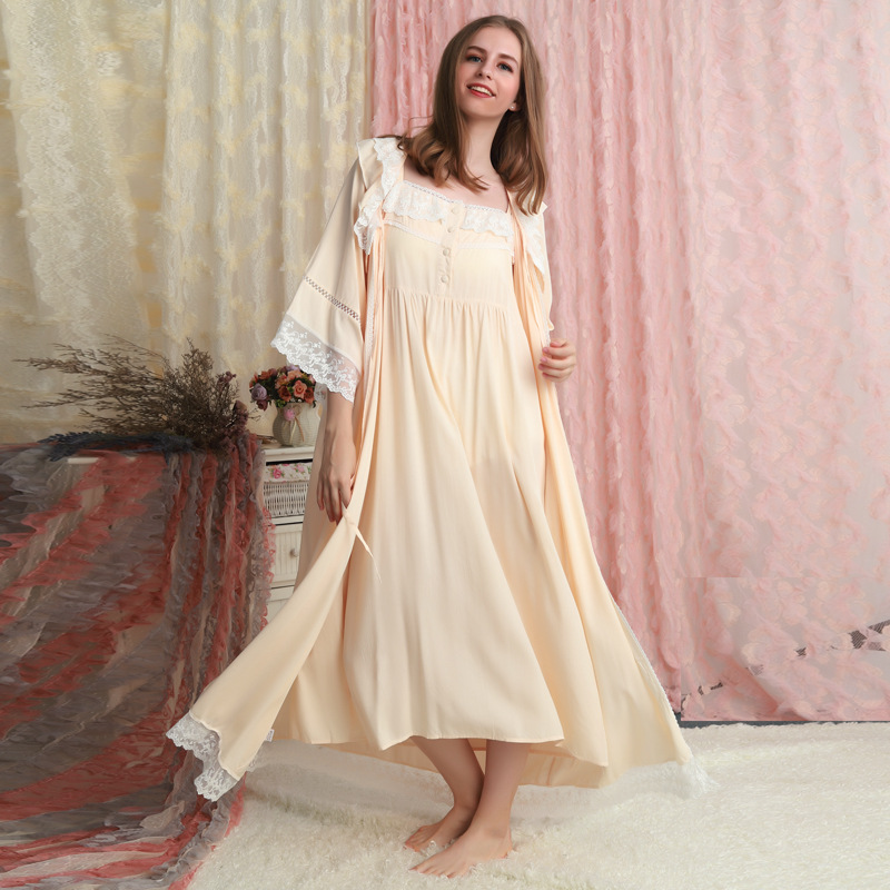 Cotton Robe Women Classic Vintage Robe Set Loose Nightgown Lady Long Gowns Pregnant Woman Robe Sleepwear Gift For Mother 6 Color