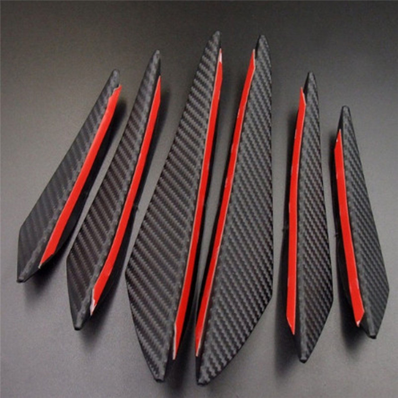 6 pièces/lot 3x droite + 3x gauche en Fiber de carbone Style voiture avant pare-chocs lèvre séparateur corps becquet Canards