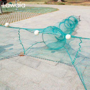 Lawaia Shrimp Cage Fishing Trap Net Trawl Fishing Cage Prawn Cage 3M Folding Net Cage with Iron Chain Floats Trap for Crabs
