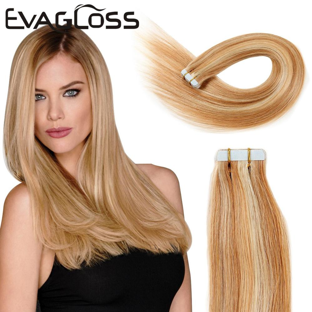 EVAGLOSS Tape In Human Hair Extensions Adhesive Skin Weft Machine Remy Hair Extensions Clearance Sale