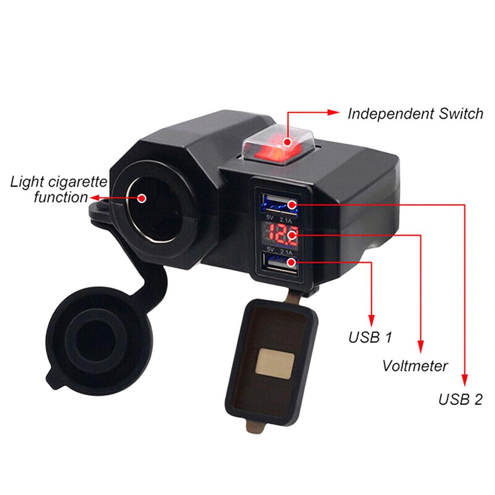 lowest price Motorcycle USB Charger With LED Voltmeter Waterproof 12V 24V Motorcycle Cigarette Lighter Socket Outlet Dual USB Charger Phone