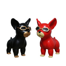 Nordic Abstract Glasses Dog Figurine Home Decoration Accessories French Bulldog Crafts Room Desktop Ornaments