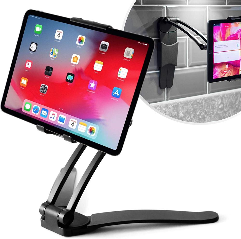 XMXCZKJ Tablet Mount Stand 2-in-1 Kitchen Wall/CounterTop Mount Stand For Ipads Tablets 7 To 10 Inch And All Smartphone