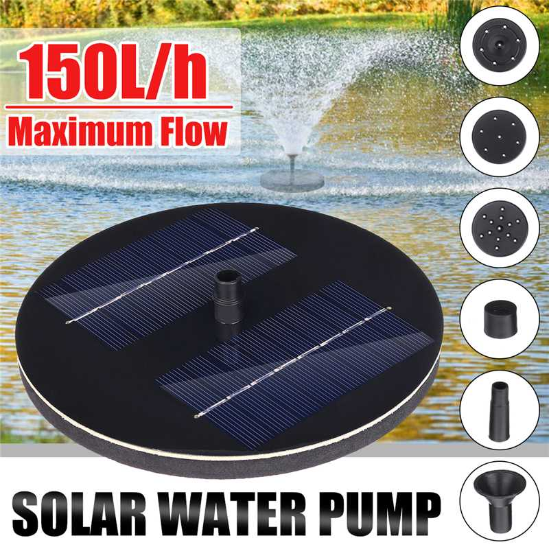 Solar Panel Powered Water Feature Pump Garden Pool Pond Aquarium Fountain 150L//H