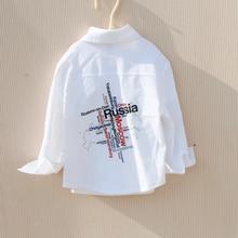 Boys Shirts Teenage Toddler Blue White Kids Cotton Child for Spring-Fall