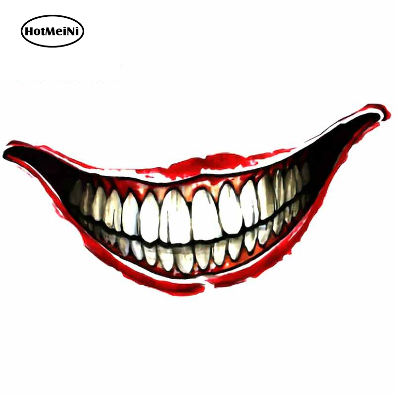 HotMeiNi 13cm x 6.5cm for Jokers Smile Tattoo on Hand Clipart Funny Car Stickers Refrigerator Motorcycle Bumper Decals