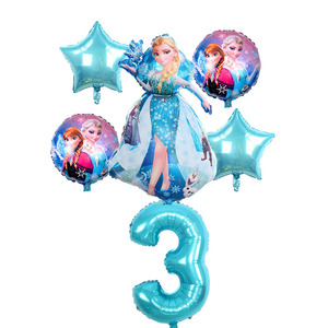 6pcs Birthday Elsa Anna Princess Balloons Birthday Party Decoration 32 Inch Number blue Balloons Set High Quality(China)