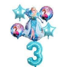 Globos de princesa Elsa y Anna para cumpleaños, 6 uds., decoración de fiesta de cumpleaños, 32 pulgadas, conjunto de globos azules, alta calidad