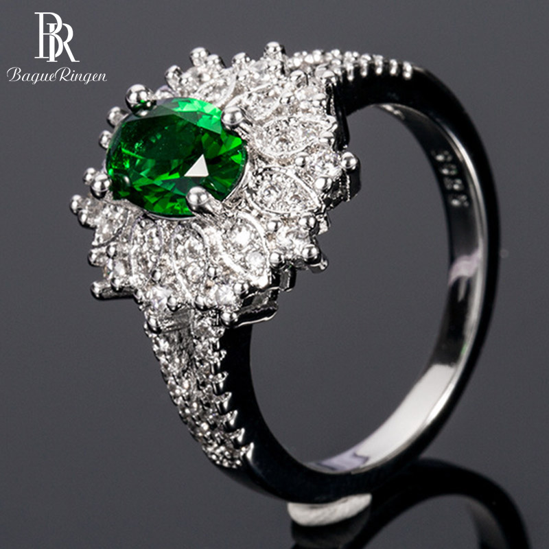 Silver 925-Ring Jewelry Zircon Emerald Gemstone Women for with 6--8mm Oval-Shape Lady
