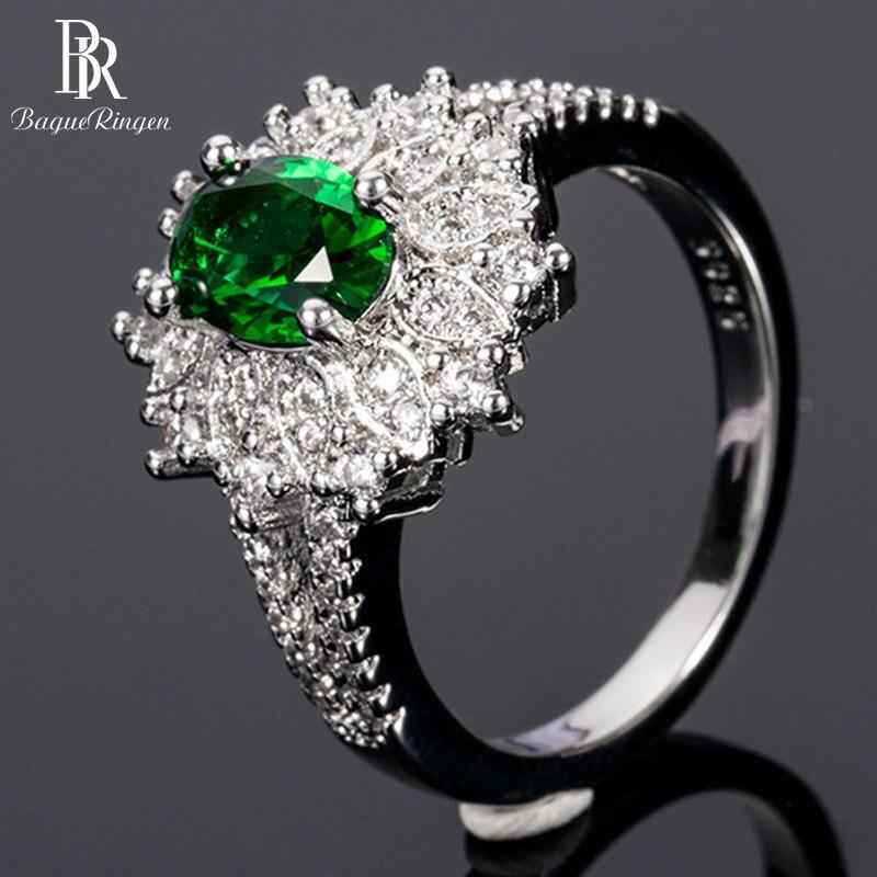 Bague ringen na moda prata 925 anel para as mulheres 6*8mm forma oval esmeralda pedra preciosa zircão jóias finas presente feminino festa por atacado