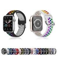 Correa de silicona colorida para Apple Watch, banda de goma deportiva impermeable de 44mm, 40mm, 38mm y 42mm, serie iWatch 5 4 3 SE 6