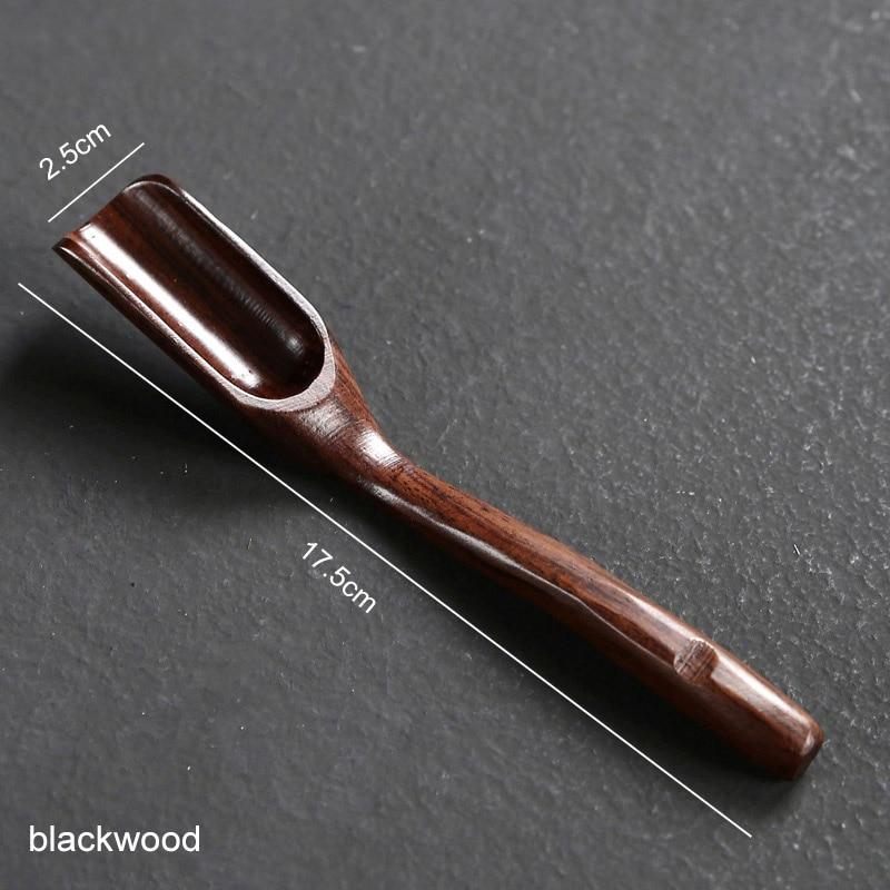 1 шт. портативная в китайском ретро-стиле деликатная Ложка деревянная бамбуковая натуральная чайная ложка аксессуары для чая - Цвет: blackwood