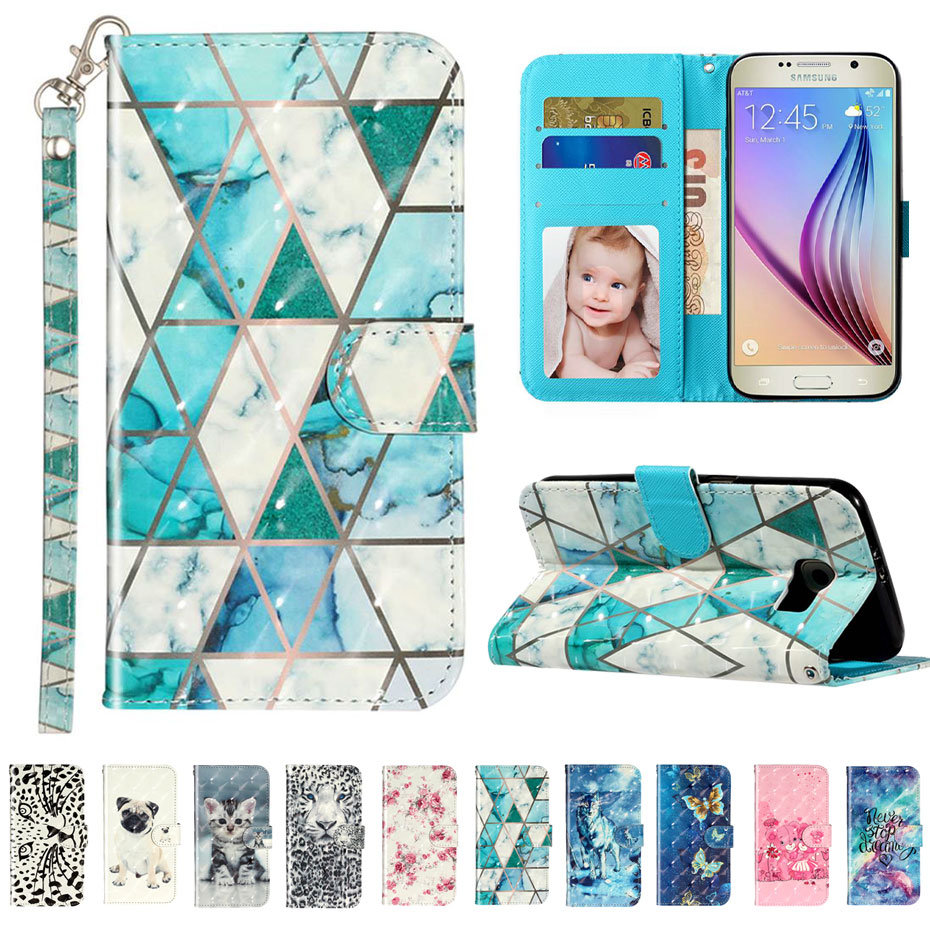 <font><b>S6</b></font> Luxury Leather Flip Case For <font><b>Samsung</b></font> Galaxy <font><b>S6</b></font> G920 <font><b>G920F</b></font> <font><b>SM</b></font>-<font><b>G920F</b></font> Case For <font><b>Samsung</b></font> <font><b>S6</b></font> Edge Plus 3D Vision Pattern Case image