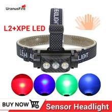 Мощный сенсорный светодиодный налобный фонарь 3 * xm l2 xpe