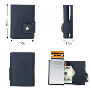 Image 2 - 연락처 빈티지 신용 카드 홀더 차단 미친 말 가죽 카드 지갑 남여 보안 정보 알루미늄 지갑 RFID