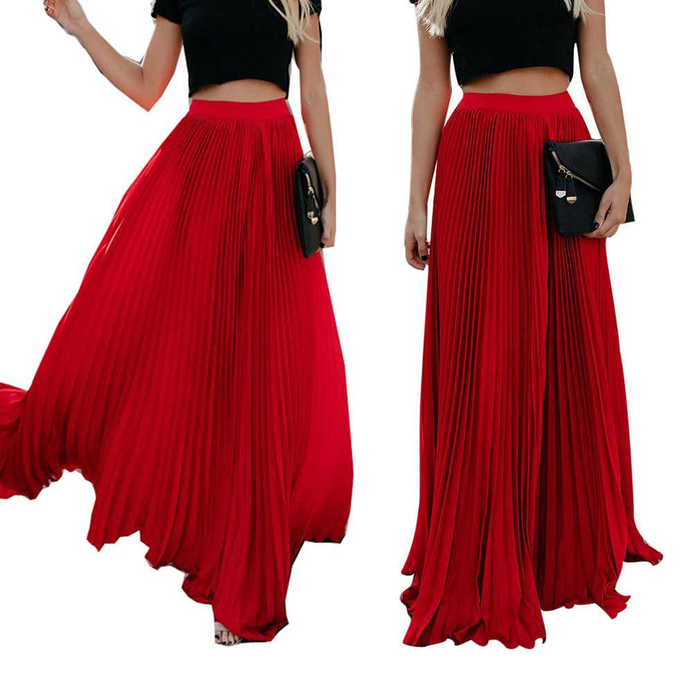 Beach Bohemia Women Solid Color Pleated Full Length Elastic Maxi Long Skirt