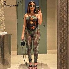 Simenual Print gorset i legginsy kobiety pasujące zestawy estetyczne Wrap Chest odzież do klubu nocnego Bodycon Patchwork dwuczęściowe stroje