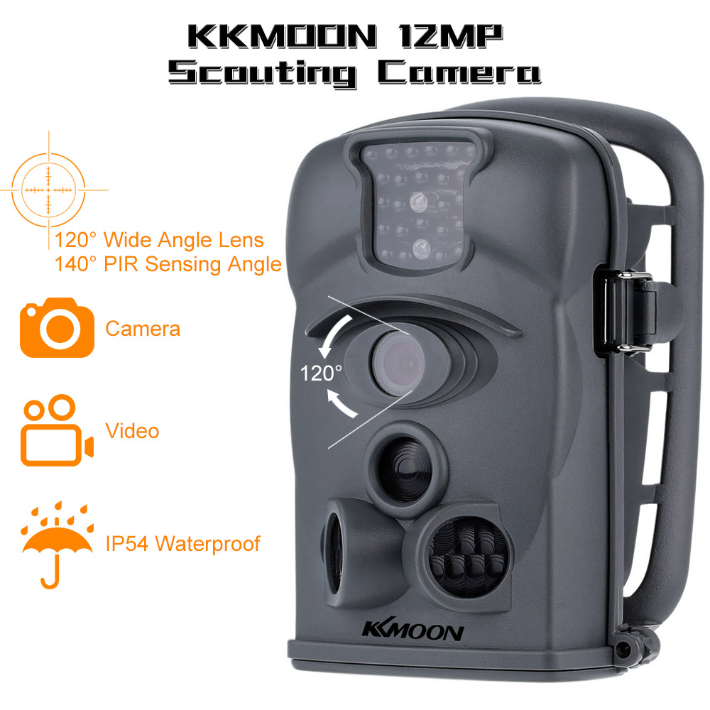 KKmoon 12MP 720P 120 Wide Angle HD 850nm 24pcs IR Waterproof Game Camera Security Scouting Hunting Trail Camera with 8G SD Card image