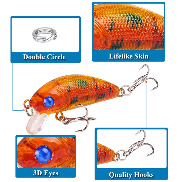 1PCS Minnow Fishing Lure 50mm 4.2g Topwater Hard Bait Wobbler Jig Bait Crankbait Carp Striped bass Pesca Fishing tackle SwimBait Fishing Lures    -