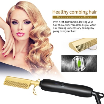 Hair Straightener Flat Irons Straightening Brush Hot Heating Comb Hair Straight Styler Corrugation Curling Iron Hair Curler Comb image