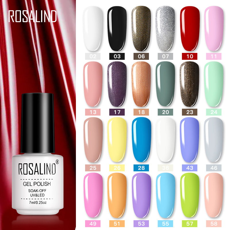ROSALIND Nail Polish Vernis Semi Permanent Hybrid Varnish Gel Polish Uv Color Gel Manicure Primer Top Coat Glitter Nail Art