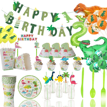 Dinosaur Party Disposable Tableware Kids Dino Birthday Party Decoration Animal Jungle Party Backdrop Roar Dino Tableware Supply image