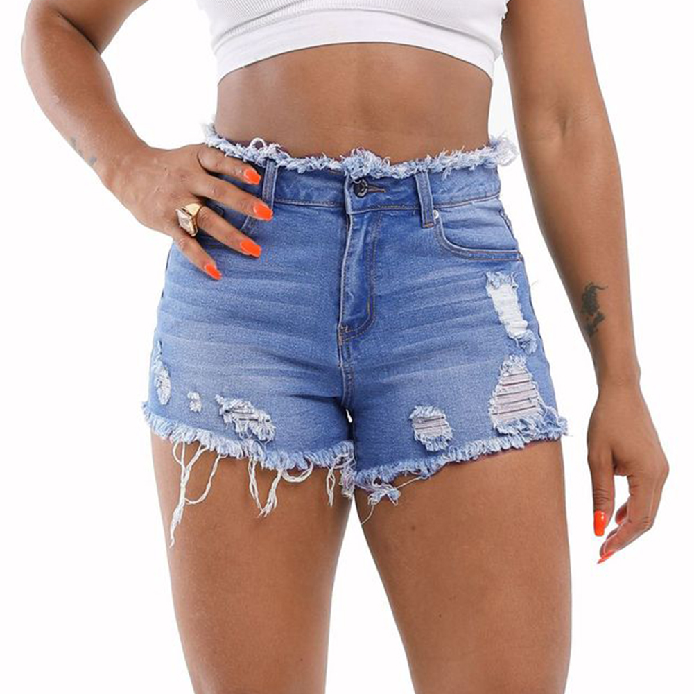 Ripped Denim <font><b>Shorts</b></font> <font><b>Women</b></font> Mid Rise Frayed Raw Hem Stretchy <font><b>Mini</b></font> <font><b>Short</b></font> Jeans 2020 Summer New Arrival Pink <font><b>Sexy</b></font> <font><b>Short</b></font> <font><b>Shorts</b></font> image