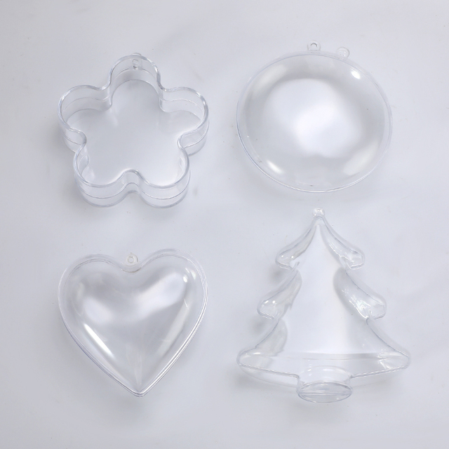 4Type Clear Plastic 3D Bath Bomb Mold Heart Shape DIY Bath Bomb Mold DIY Christmas Xmas Trees Decoritions Bath Accessories