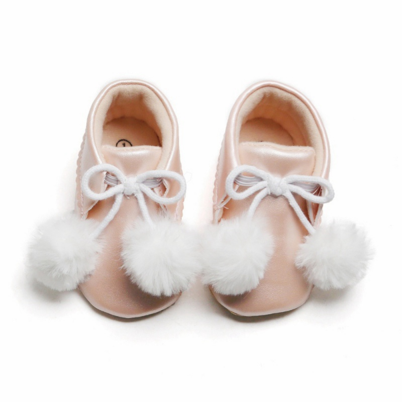 Cotton Baby Booties For Girls Autumn Children Casual Leather Boots Baby Girls Plush Ball Decor PU Shoes Walking Shoes  Z