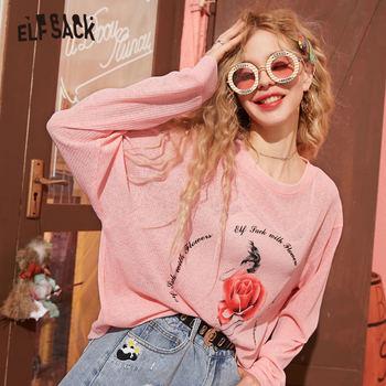ELFSACK Pink Rose Print Knit camiseta informal para mujeres 2020 primavera nuevo Vintage azul gráfico manga larga Girly coreano Daily Thin Top