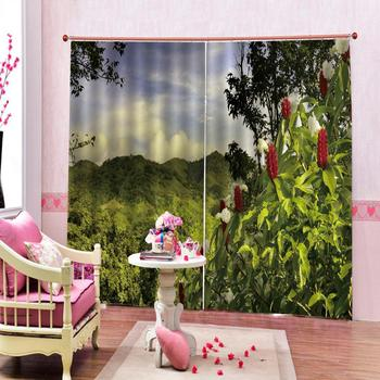 green curtains European Curtains Photo Painted 3D Curtain Living room nature scenery curtains