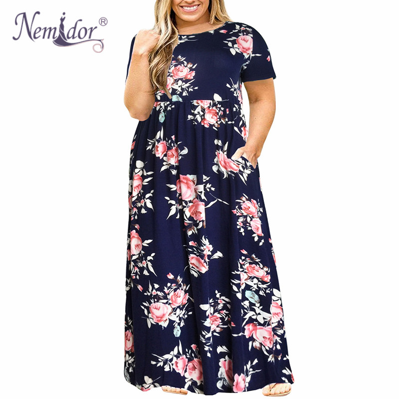 Nemidor 2019 Hot Sales Women O-neck Long Sleeve Long Summer Casual Dress Plus Size 7XL 8XL 9XL Vintage Maxi Dress With Pockets