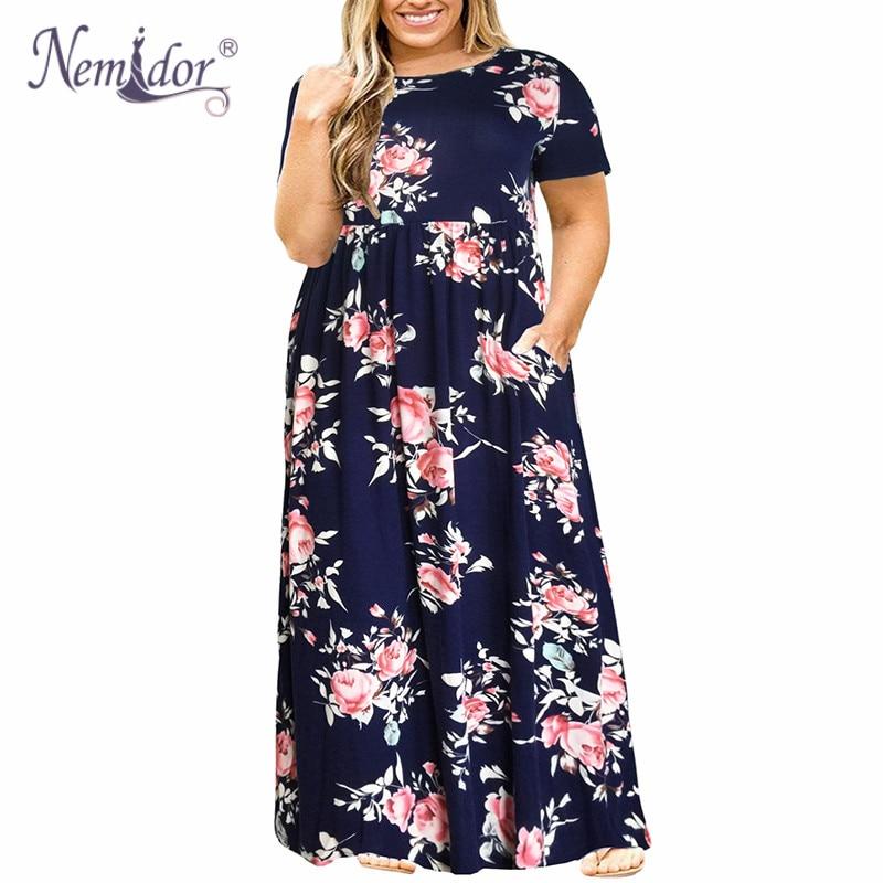 Nemidor 2019 Hot Sales Women O-neck Long Sleeve Long Summer Casual Dress Plus Size 7XL 8XL 9XL Vintage Maxi Dress With Pockets