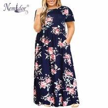 Nemidor 2019 sıcak satış kadın o boyun uzun kollu uzun yaz rahat elbise artı boyutu 7XL 8XL 9XL Vintage Maxi elbise cepler