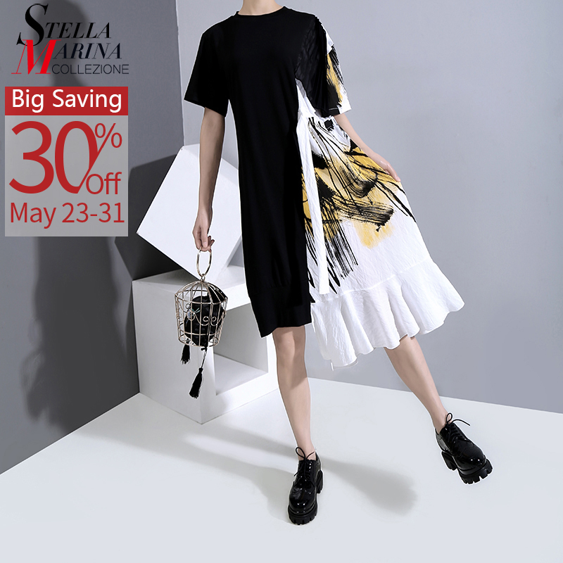 New 2020 Hit Color Design Women Summer Black Patchwork Dress With Sashes One Size Printed Midi Lady Casual Dress Robe Femme 6221
