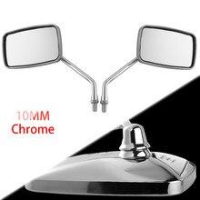 DERI 1 Paar Universal Rechteck Moto rcycle Rückspiegel 10mm Chrome retrovisor de moto spiegel moto Für Honda