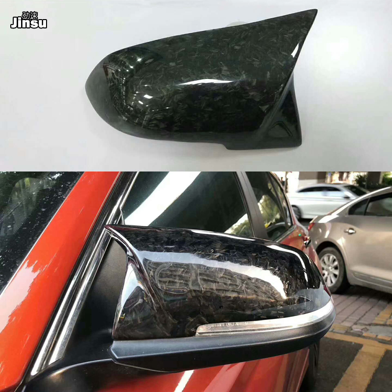 AN Forged Carbon Fiber For BMW 3 Series 320i 330i 335i 2013 - 2018 F30 F31 car styling Side Wing Mirror Cover Shell Replace 2pcs