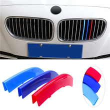 For BMW 5 Series F10 F18 3D Car Styling Front Grille Trim Sport Strips Cover M Power Performance Stickers for 2011 2017 F10 F18