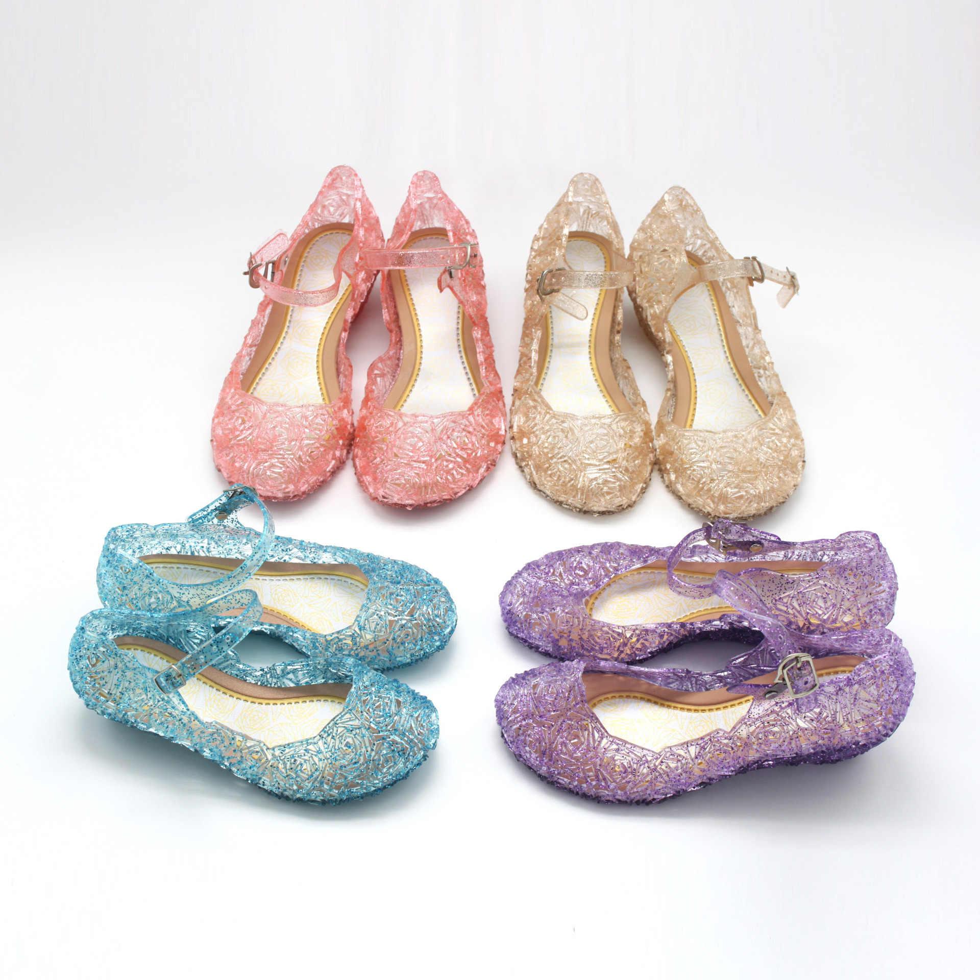 Sandália de cristal transparente para meninas, acessório de cosplay de princesa, elsa e pvc