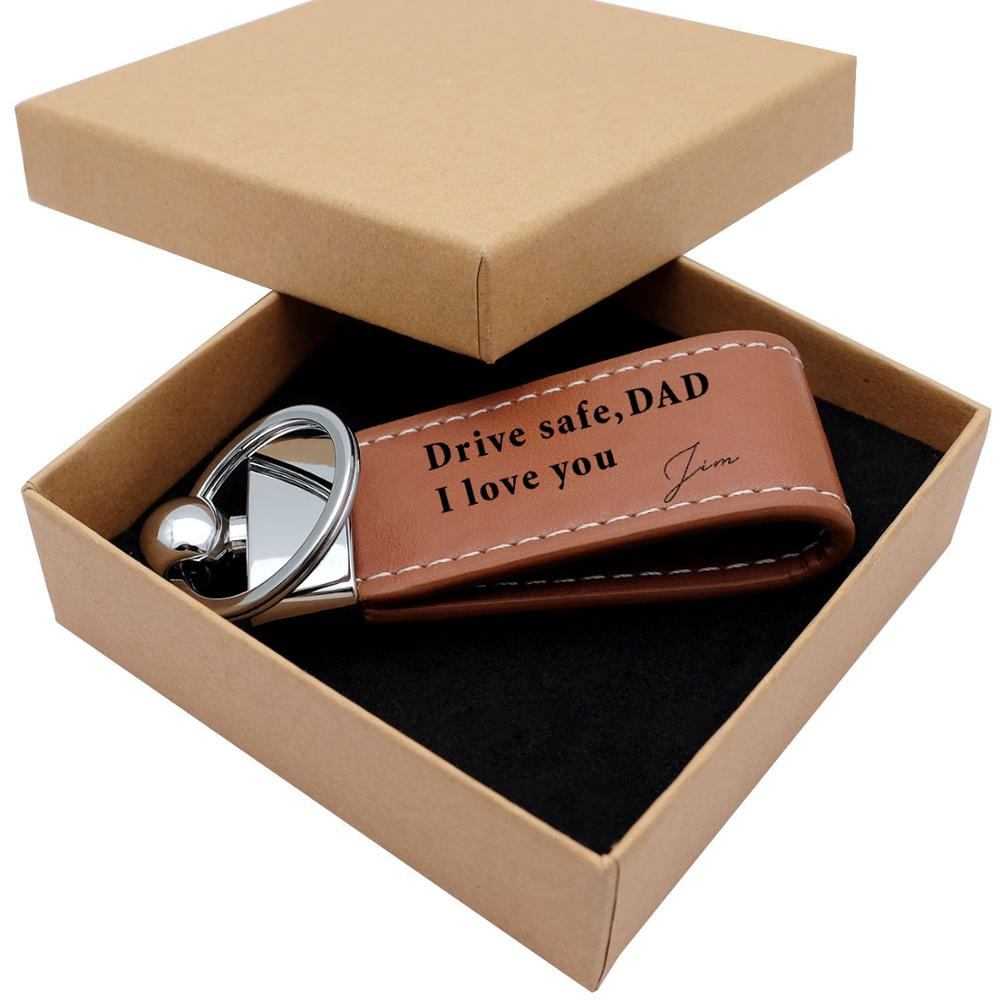 Personalized Leather Keychain,Custom Engraved Text Keychain,Leather Keyring Personalized Gift for Dad Father's Day Gift