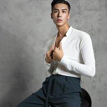 Shirt Dance-Wear Latin-Dance ZYM Long-Sleeve Moment for Men's Slim-Fit Take The -20603