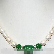 Настоящее 8-9 мм Пресноводный Культивированный жемчуг и зеленый нефрит ожерелье