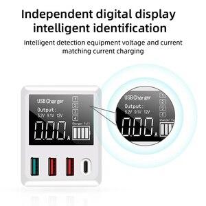 Image 2 - 30W téléphones chargeur rapide QC 3.0 Micro USB Type C adaptateur secteur affichage LED 3 Ports USB + 1 Port type c pour iPhone Android adaptateur